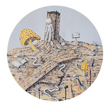 枯木与蘑菇/直径102cm/布面丙烯/2009