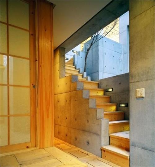 韩国现代混泥土木板房设计