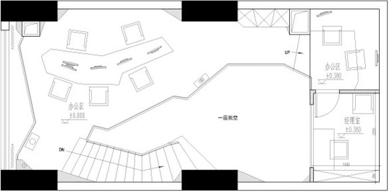 室内90平方米带楼梯设计平面图