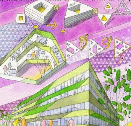 cebra设计丹麦udk的三角形办公楼