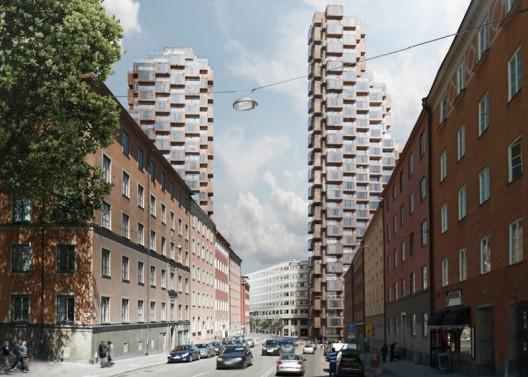 oma设计的瑞典第三高双塔在设计竞赛中胜出