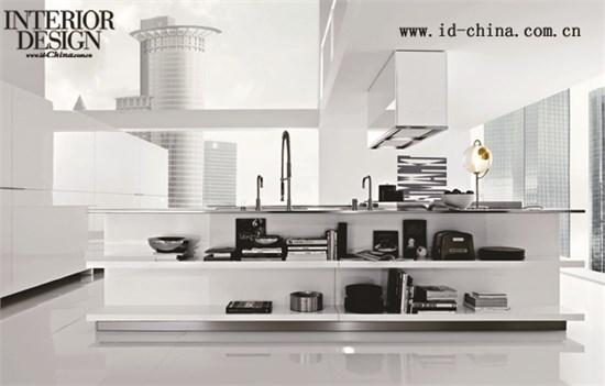 白色可丽耐柜面,白色烤漆柜体搭配浅灰色水泥工作台面.
