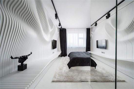 泾渭分明——参数化设计下的黑白卧室_美国室内设计