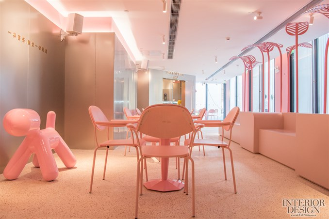 粉色幼儿园餐厅