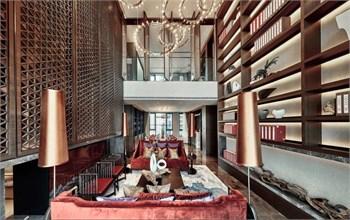 """上海天恒装饰设计 / 收藏""""帝王之色""""的图书馆之家"""